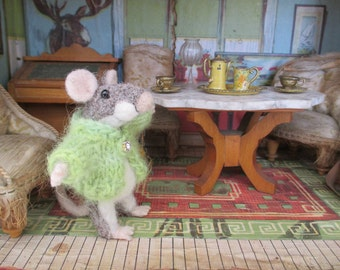 Felt Mouse, Little Needle Felted Mouse, Gray Mouse with Light Green Sweater