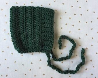 ELLIOT - crochet pixie baby bonnet - evergreen - Made to Order