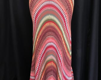 Brown Print Jersey Knit full length Mermaid Bohemian Maxi Skirt