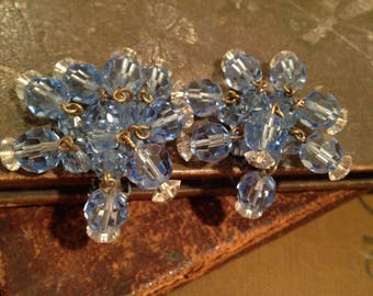 Vintage Blue Crystal Waterfall Clips