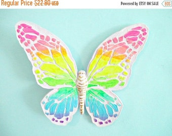 1-DAY SALE Neon Pastel Butterfly Wall Hanging - Vintage Homco 3-D - Hand Painted Pink and Rainbow
