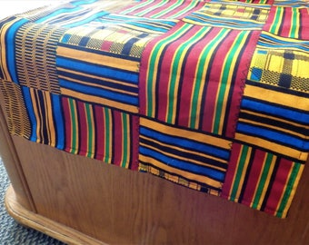 Kente Print Table Runner, African Table Cloth or Matching Luncheon Napkins - Choose Fabric & Items
