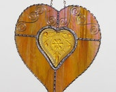 Stained Glass - Iridescent Amber Heart with Amber Heart Trinket Dish, Valentine Heart, Valentine's Day Gift