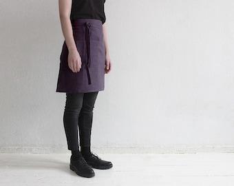 Linen half apron, Violet linen apron, Violet apron, Short linen apron, Linen waist apron, Kitchen apron, Women's apron, Apron, Aprons