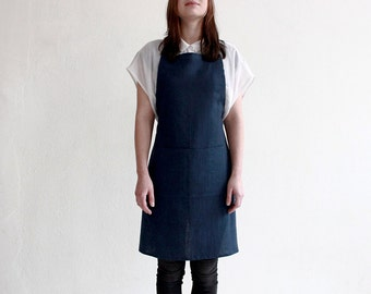 Indigo linen apron, full apron, Dark blue apron, Indigo apron, Unisex apron, Women's aprons, Men's aprons, Blue linen apron with pockets