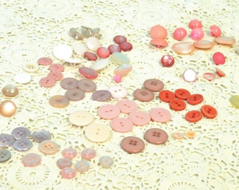 Vintage Pink and White Button Assortment
