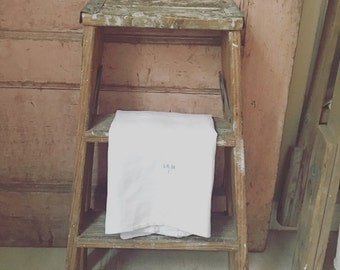 Vintage Wood With Paint Stool Step Ladder - Shabby Chic Side Table