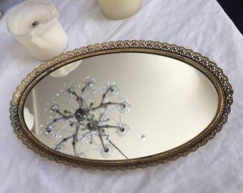 Vintage Sweet Filagree Ornate Mirror Vanity Tray