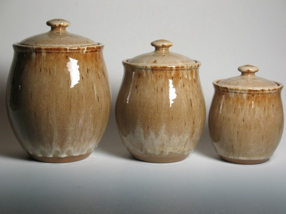 pottery canister set kitchen canisters stoneware 3 piece kitchen canisters archives brent smith pottery brent
