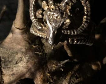 Vintage Zodiac Ram Head Ring size 10.5 at Gothic Rose Antiques