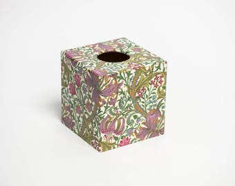 Tissue Box Cover William Morris Style wooden decoupaged made by hand