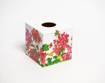 Tissue Box Cover Geranium  wooden decoupaged made by hand