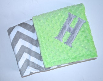 Monogrammed Chevron Minky Baby Blanket -  Gray and Lime Green Personalized Blanket with name, Soft Neutral - zig zag - Birth Stats Newborn
