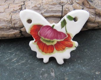 Retro Poppy Ceramic Butterfly Pendant