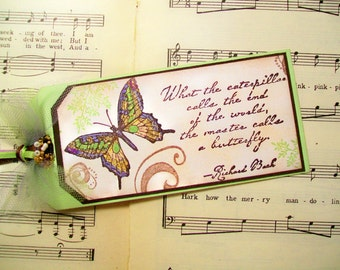 Paper Bookmark, Richard Bach, What the Caterpillar Calls...Planner Bookmark, Hand-stamped Bookmark, Butterfly Bookmark, Encouragement