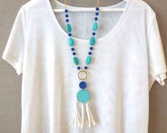 Turquoise, cobalt blue and white tassel pendant