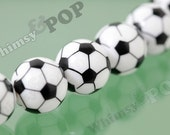 20mm - Soccer Futbol Style Gumball Beads, Chunky Gumball Beads, 20mm Gumball Beads, Soccer Ball Beads, Sports Beads, 2mm Hole