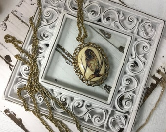 Vintage Owl Pendant on Extra Long Chain