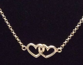 Authentic Vintage Stunning STERLING SILVER 925 Two Hearts Joined Together Necklace, Wedding, Bride, Bridesmaid, Prom, Birthday, Free Postage