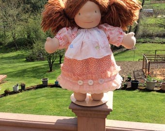 """Peaches and cream, shabby chic, vintage hankie, 15-18"""" Waldorf doll clothes, 2 pc, ooak"""
