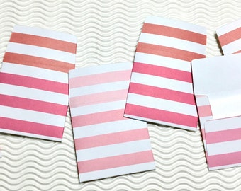 12 teeny tiny miniature square Valentine pink ombre stripe envelope mini note card sets stationery party favors weddings guest book