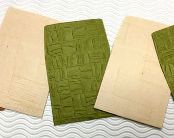 6 teeny tiny envelopes green brown embossed handmade paper miniature note set square stationery party favors wedding guest book table number