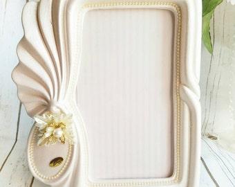 pink ceramic frame pearls photo frame vintage photo frame pearl pink frame shabby chic frame victorian frame baby pink italian frame