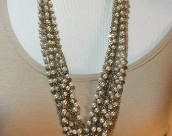 Chunky pearl cluster necklace one of a kind
