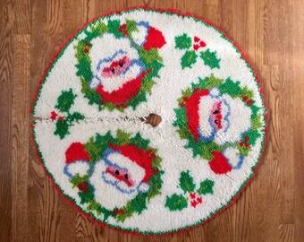 Vintage Latch Hook Santa Tree Skirt