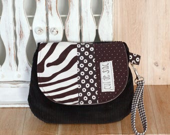 Eco friendly wrislet clutch  small bag evening purse with wrist strap and flap recycled fabric  messenger style polka dots  black