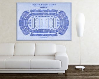 Print of Vintage Madison Square Garden Seating Chart on Your Choice of Photo Paper, Matte Paper, or Canvas