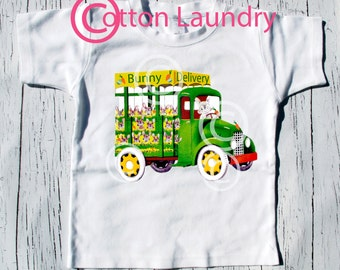 "Easter Boy Shirt - ""Bunny Delivery"" - Boy Bunny Shirt - Vintage inspired Easter Truck, boys Easter tee shirt"