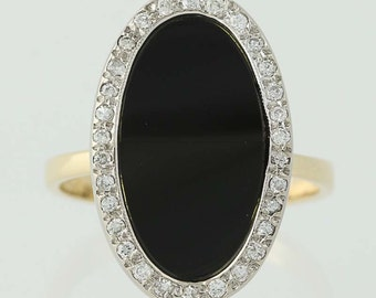 Black Glass and Diamond Ring - 14k Yellow & White Gold Halo .14ctw N5146