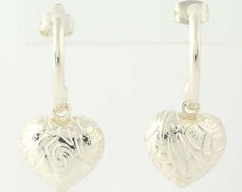 Partial Hoop Heart Dangle Earrings - Sterling Silver 925 Pierced Floral Q8341