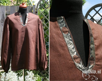 Brown Millwashed linen shirt with Brocade detail (Larp, Viking, Medieval, Renfaire, COSplay, Celtic) - <READY TO SHIP>