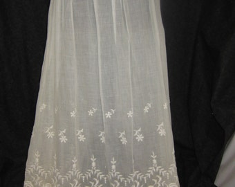 Vintage Early 1900's Edwardian Muslin Petticoat Slip with Embroidery