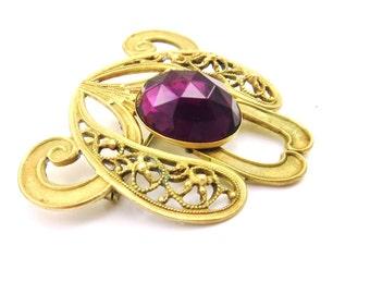 Victorian Gold Brooch, Purple Glass, Edwardian Brooch, Amethyst Brass Filigree, Edwardian Jewelry, Victorian Jewelry, Antique Pins