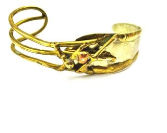 Brutalist Bracelet, Brass Cuff, Silver Bracelet, Modernist Mixed Metal, Minimalist 1970s Boho Jewelry, Brutalist Jewelry