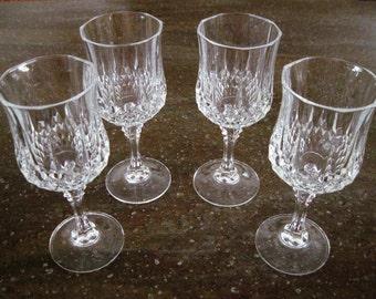 4 Cris D'Arques/Durand Crystal Glass Wine Glasses Longchamp Pattern