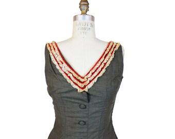 1950s Grey Ruffle Mermaid Dress