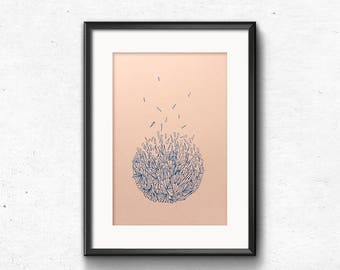 Original Risoprint Artwork, A4 Poster Art, New Home Gift, Risograph Print, Contemporary illustration, Geometric Wall Art, Blue & Coral Pink