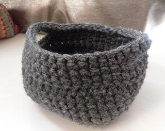 Gray Crochet Basket