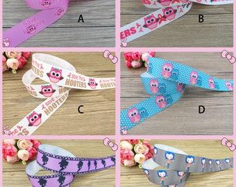 """1"""" Cowgirl Head,Cartoon Girl,Owls Breas Grosgrain Printed Ribbon/100% polyester/1,3,5,10 yards/Hair Bow/DIY/ Scrapbooking/Dog Collar,Wedding"""