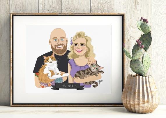 2 People + 2 Pets illustrated custom portrait. Couple family pet portrait, custom illustration, anniversary, birthday, wedding gift