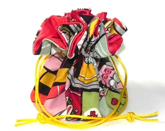 Jewelry Drawstring Travel Bag - Organizer Pouch - Red, yellow, brown, pink and mint books
