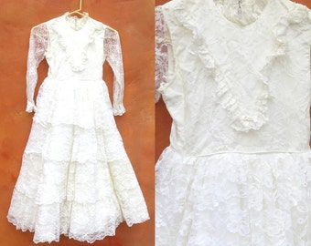Vintage Girl's 1950s 1960s White Lace Ruffled Tiered Maxi Party Dress.  Formal Dress Up. Fairytale. Size 8 10 Flower Girl. Confirmation