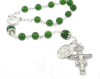 Pope Francis & Saint Francis of Assisi Pocket Rosary, San Damiano Cross - Catholic Prayer Beads