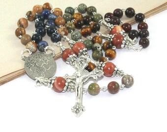 Three Holy Hearts Catholic Rosary Prayer Beads, Gemstone Beads, Unique Man's Rosary