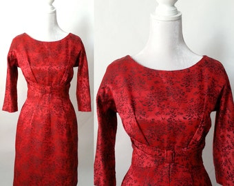 Vintage Red Dress, 1950s Red Damask Dress, 1950s Red Dress, Holiday Red Dress, 50s Party Dress, Red Party Dress, 1950s Party Dress, Retro