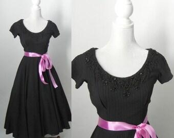 20% OFF Vintage Dress, 1950s Dress, Black Vintage Dress, Black 50s Dress, Retro Swing Dress, Black Rockabilly Dress, Sandra Sage, Black Part